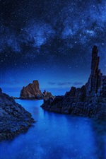 Night, rocks, stars, ocean iPhone wallpaper