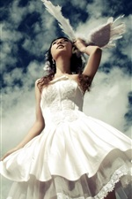 White dress girl, blue sky iPhone wallpaper