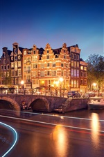 Amsterdam, Nederland, night, houses, bridge, river, lights iPhone wallpaper
