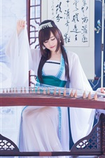 Chinese girl, zither iPhone wallpaper