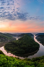 Germany, resort, meander river, sunset iPhone wallpaper