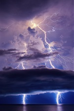 Lightning, sky, clouds, sea, night iPhone wallpaper
