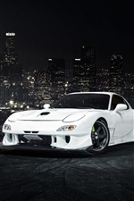 Mazda RX-7 white car front view iPhone wallpaper