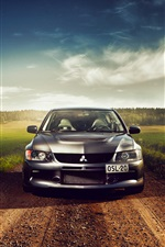 Mitsubishi silver car front view iPhone wallpaper