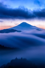 Mountain, volcano, mist, blue iPhone wallpaper