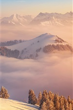 Mountains, clouds, winter, Switzerland iPhone wallpaper