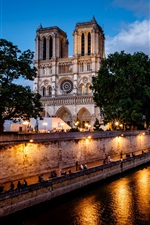 Paris, France, Notre Dame de Paris, river, lights iPhone wallpaper