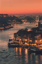 Portugal, Porto, evening, lights, river, houses iPhone wallpaper
