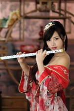 Red dress chinese girl, flute iPhone Wallpaper