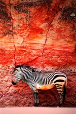 Red wall, zebra iPhone wallpaper