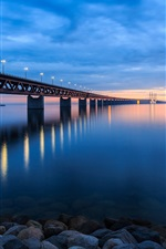 Sweden, bridge, lights, beach, stones, night iPhone wallpaper