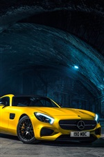 2015 Mercedes-Benz AMG GTS yellow car iPhone wallpaper