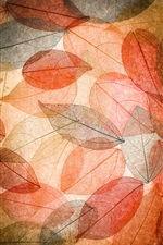 Autumn, red leaves, transparent iPhone wallpaper