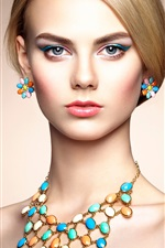 Beautiful fashion girl, makeup, jewelry iPhone wallpaper