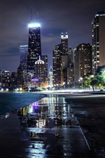 Chicago, Illinois, USA, skyscrapers, houses, lights iPhone Wallpaper