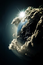Earth, clouds, sun, universe iPhone wallpaper
