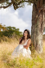 Girl sitting under tree, white dress iPhone wallpaper
