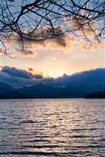 Lake, clouds, mountains, twigs, sunset iPhone wallpaper
