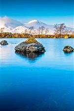 Lake, rocks, mountains, trees, blue iPhone wallpaper