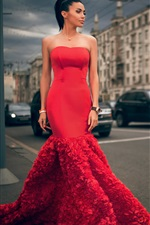 Moscow, beautiful fashion girl, red dress iPhone wallpaper