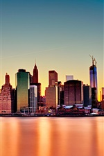 New York City, USA, skyscrapers, sea, dusk iPhone wallpaper