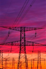 Red sky, power lines iPhone wallpaper