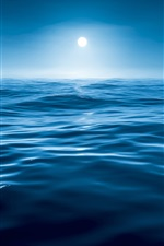 Sea, water, night, blue, moon iPhone wallpaper