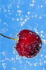 Water, bubbles, red berry, cherry iPhone wallpaper
