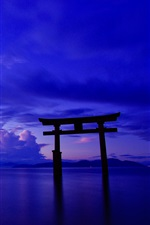 Japan, ocean, sky, clouds, gate, dusk iPhone wallpaper