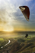 Sports, sunset, paragliding iPhone wallpaper
