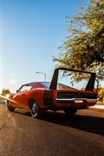 1969 Dodge Charger supercar rear view iPhone wallpaper