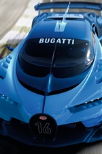 2015 Bugatti Vision Gran Turismo blue supercar front view iPhone wallpaper