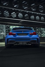 BMW GTRS4 blue car rear view iPhone wallpaper
