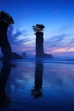 Blue sky, sea, night, rocks, column iPhone wallpaper