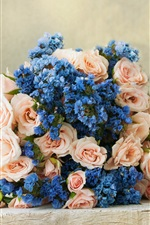 Bouquet, pink roses, blue flowers iPhone Wallpaper