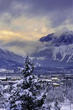 Canada, Canmore, Alberta, Banff National Park, snow, winter, houses iPhone wallpaper