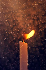 Candle, fire, water drops, rain iPhone wallpaper