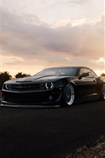 Chevrolet Camaro ZL1 matte black muscle car iPhone wallpaper