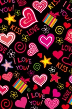 Colorful love hearts, sweet, vector, romantic iPhone wallpaper