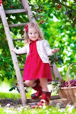 Cute baby, girl, red cherry, garden, summer, staircase iPhone wallpaper