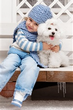 Cute little girl and dog, friendship iPhone Wallpaper
