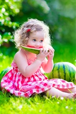 Cute little girl, baby, summer, watermelon, meadow iPhone wallpaper