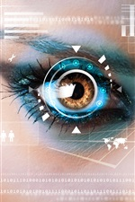 Eye, interface, code, creative pictures iPhone wallpaper