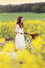 Happy mood, smile girl, bike, yellow flowers, field iPhone wallpaper