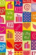 I love you, kiss, romantic, colorful iPhone wallpaper