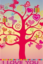 I love you, love hearts tree iPhone wallpaper