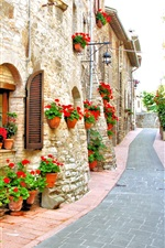 Italy, house, street, flowers iPhone Wallpaper
