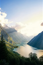 Klontalersee, lake, Switzerland, sun rays, mountains iPhone wallpaper
