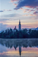 Lake Bled, Slovenia, Mariinsky Church, dusk iPhone wallpaper