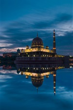 Malaysia, Putrajaya, mosque, evening, lake iPhone wallpaper